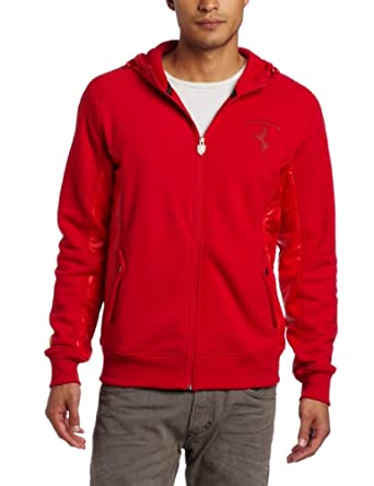 PUMA Men's Ferrari Hooded Sweat Jacket, Rosso Corsa, X-Large
