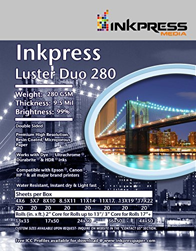 INKPRESS MEDIA Duo Luster 280 GSM, 9.5, 99 Percent Bright Paper (#LD851120) (99 Cent Papers compare prices)