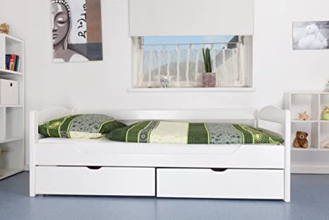 """Tagesbett / Funktionsbett """"Easy Sleep"""" K1/n/s inkl 2 Schubladen und 2 Abdeckblenden, 90 x 200 cm Buche Vollholz weiß lackiert"""