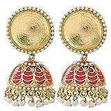 The Jewelbox Antique Meenakari Gold Plated Rani Pink Jhumki Earring for Women