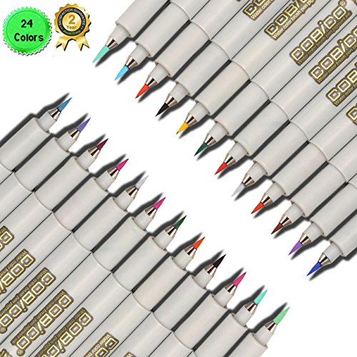 magicdo-24-cols-water-color-paint-brush-pen-pigment-ink-adult-coloring-marker-pigma-brush-marker-pen