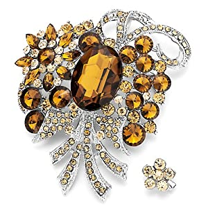 Pugster Retro November Birthstone Topaz Crystal Bouquet Flower Set Brooches And Pins
