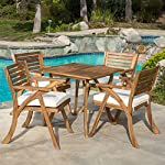 Deandra Outdoor 5-piece Wood Dining Set with Cushions