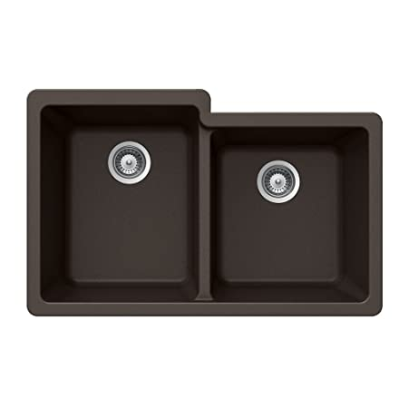 Houzer M-175U MOCHA Quartztone Series Granite Undermount 60/40 Double Bowl Kitchen Sink, Mocha