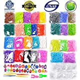 13500+ Loom Rainbow Rubber Bands Refill Kit for Boy Girl Weaving DIY Craft Gift Set Include: 13000+ Premium Quality Loom Bands in 31 Colors + 500 Cute Clips+ 6 Hooks + 30 Charms No Loom Board Include (Color: 31 Colors Bag Packing, Tamaño: 13500+)