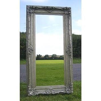 """Ornate Silver Rococo Mirror (6ft 2"""" x 3ft 2"""")"""