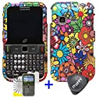 3 items Combo: ITUFFY (TM) LCD Screen Protector Film + Case Opener + Pink Green Orange Blue Purple Spring Cartoon Color Daisy Flower Design Rubberized Snap on Hard Shell Cover Faceplate Skin Phone Case for Samsung S390G (Straight Talk / Net 10 / Tracfone)