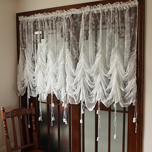 FADFAY Elegant White Lace Embroidered Sheer Ballon Curtains, 1 Panel Floral Tulle Curtains For Windows (French Door Lace Panel compare prices)
