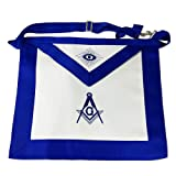 FunYan Blue Lodge Master Mason Masonic Apron Blue Grosgrain Ribbon Borders