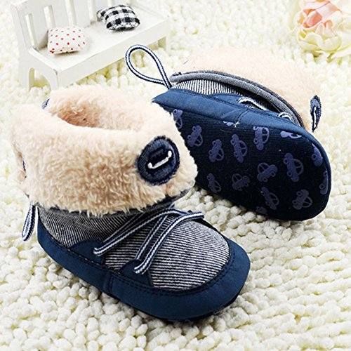 Weixinbuy Baby Boy Lace Up Stripe Soft Bottom Winter Snow Boots M