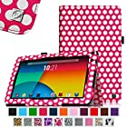 Fintie Premium Vegan Leather Case Cover for 9 Android Tablet inclu. NeuTab N9 Pro 9, Contixo LA903 9 Tablet PC, Dragon Touch N90 9 Tablet PC, ProntoTec 9 Inch Capacitive Touch Screen Tablet PC, ProntoTec 9 Inch HD Android Tablet PC, Alldaymall 9, iRulu x1s - 9, iRulu 9 Inch Tablet Model AL109, Goldengulf 9 Inch Tablet ATM7021, AKASO KingPad A90, Digital Reins 9, Andteck TouchTab 9, Zeepad9XN 9, Tagital® T9X 9 Quad Core Android 4.4 KitKat Tablet PC, Tagital 9 A23, Epassion Eg9 9'', Polaroid PTAB935 9 Android Tablet , RCA Tablet 9 inch, Riin 9 A20(PLEASE check the complete compatible tablet list under Product Description) - Polka Dot Magenta