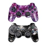 PS3 Controller Wireless SIXAXIS Double Shock Gamepad for Playstation 3 Remote, 2 Pack with PS3 Controller Charger Cable (Black Ghost+Starry Sky) (Color: Black Ghost+Starry Sky)