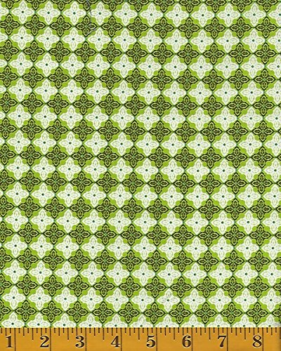 Blend Fabrics Turkish Delight Tesselations - Green/White #114.108.04.1 (Tesselation Quilts compare prices)