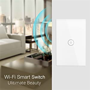 WiFi Smart Wall Light Switch Glass Touch Panel Wireless Remote Control by Mobile APP Anywhere Compatible with Alexa,Timing Function No Hub Required (Wall Switch 1 Gang) (Color: White, Tamaño: 4.72 x 3 x 1.45 in)