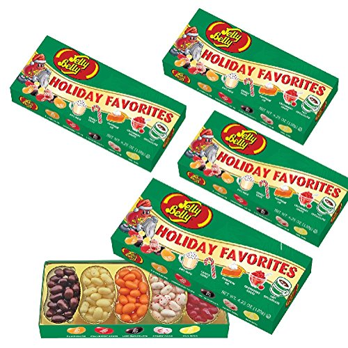 (Set/4) Jelly Belly Christmas Holiday Favorite Flavored Candy Beans Gift Box (Jelly Belly Holiday Flavors compare prices)