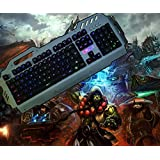 Gaming Keyboard, DMYCO Mechanical Feeling Wired Backlit Keyboard Multimedia Illuminated Keyboard for Office Home Laptop PC Games with Phone Slot