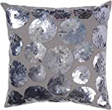 Rizzy Home T-3129 18-Inch by 18-Inch Decorative Pillows, Gray/Platinum, Set of 2