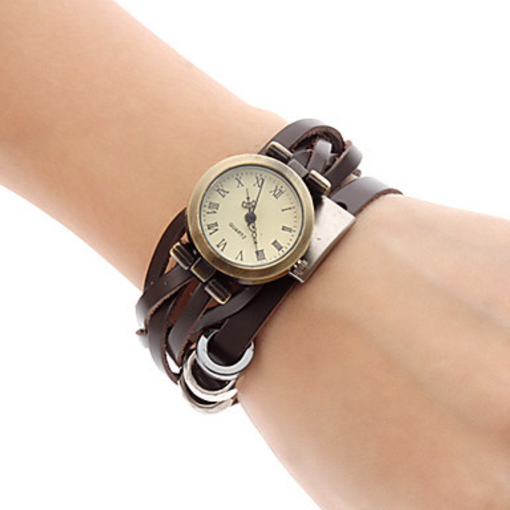 Baolihao Women's Quartz Analog Brown Leather Band Bracelet Watch WTH2365