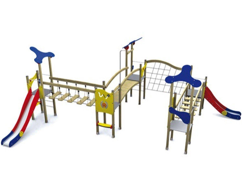 Spielanlage KLASSIK VI mit Brücken, Rutschen und Klettermöglichkeiten - für öffentliche Spielplätze & Einrichtungen