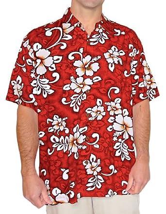 Squish mens hawaiian shirt aloha shirt modern red hibiscus theme at
