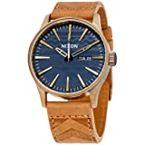 Nixon Men's 'Sentry Leather' Quartz Stainless Steel Casual Watch, Color:Brown (Model: A105) (Color: Brass / Navy / Hickory)