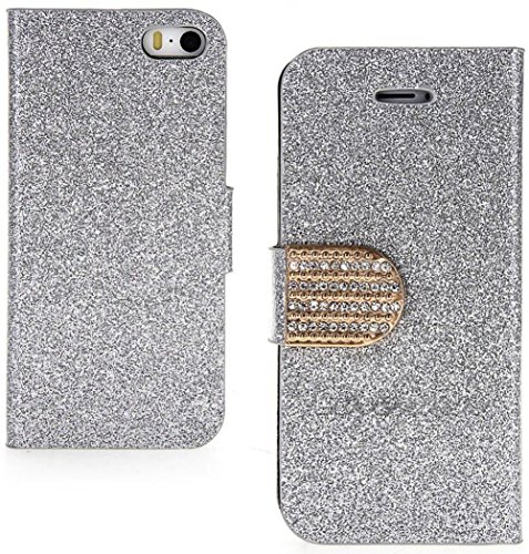 Mylife (Tm) Silver Shimmer And Gold Bling - Glamorous Design - Textured Koskin Faux Leather (Card And Id Holder + Magnetic Detachable Closing) Slim Wallet For Iphone 5/5S (5G) 5Th Generation Smartphone By Apple (External Rugged Synthetic Leather With Magn