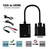 VGA to HDMI Adapter with Audio, TESSIN Male VGA to HDMI Video Converter for Connecting Old PC Laptop with a VGA Output to New Monitor HDTV (Color: Black, Tamaño: small)
