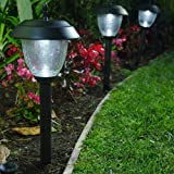 Set of 8 Glass High-Output LED Solar Path Lights - Gunmetal