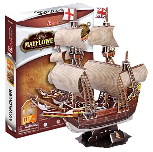3D Jigsaw Puzzle May Flower CubicFun 3D Puzzle T4009h 111 Pieces Decorative Fashion Best Seller Cubic Fun Exiting Fun Educational Historic Playing Building Game DIY Holiday kids Best Gift Toy Set (Mayflower Model Kit compare prices)