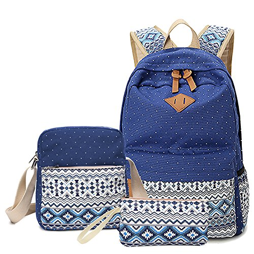 f944b89d40 Abshoo Canvas Dot Backpack Cute Lightweight Teen Girls Backpacks School  Shoulder Bags (Navy) - My Best Backpack