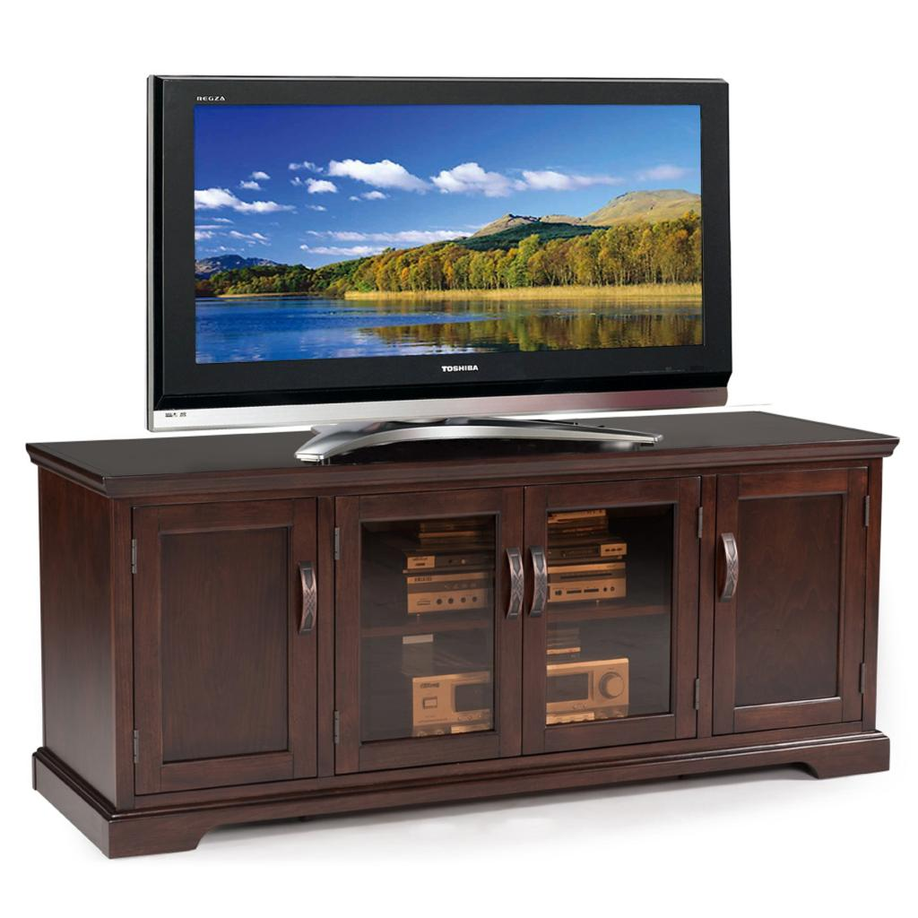 leick westwood cherry hardwood tv stand 60 inch. Black Bedroom Furniture Sets. Home Design Ideas