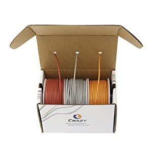 CBAZYTM Hook up Wire (Stranded Wire) 18 Gauge Flexible Silicone Wire 18AWG 15M (49 Feet) Electrical Wire Grey+Brown+Orange (Color: A-(grey+brown+orange), Tamaño: 18AWG)