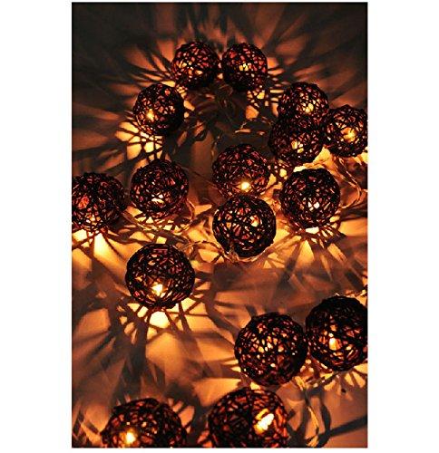 Sbx 4M 35 Brown Handmade Rattan Balls Fairy Srting Light Decor - Ideal Wedding, Christmas & Party String Lights