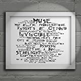 `Noir Paranoiac` Art Print - MUSE - Black Holes and Revelations - Signed & Numbered Limited Edition Typography Wall Art Print - Song Lyrics Mini Poster