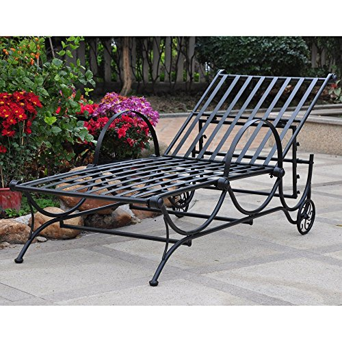 International Caravan Wave Adjustable Chaise Lounge (Wrought Iron Chaise compare prices)