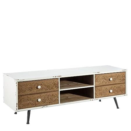 Mueble de TV blanco de madera con 4 cajones rústico para salón Factory - Lola Home