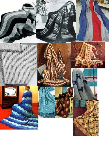 Vintage Knitting Afghan Patterns - 36 Homemade Knit Afghan Patterns - Baby Knit Afghan, French Poodles Afghan, Leaf Pattern Afghan and Many More