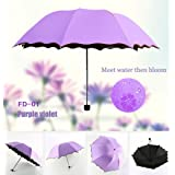 Travel Compact Umbrella For One Handed Operation, Met Water Begin Bloom Umbrella ,Windproof Sunscreen Handle for Easy Carrying For Womens Mens (Violet Purple)