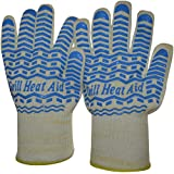 Triple Layer Design of Steam, Heat & Flame Resistant Gloves Warrant Maximum Safety - Light-Weight & Flexible - Soft Cotton Lining for Comfort - Blue Silicone for Superb Grip