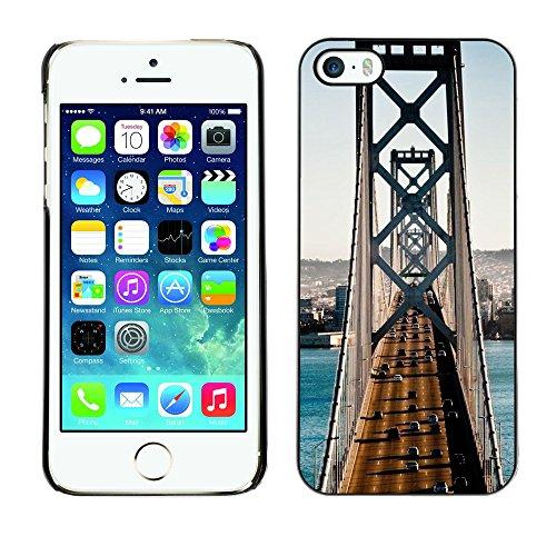 Qcase Slim Pc / Aluminium Sleek Case Cover Armor Shell -- Architecture San Francisco Bridge Traffic -- Apple Iphone 5 / 5S