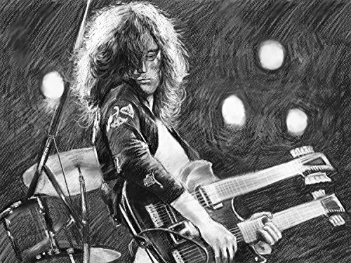 """Jimmy Page - Led Zeppelin -Drawing Canvas - Gloss Canvas By Artist Eugene Size 30""""X40"""" Inches"""