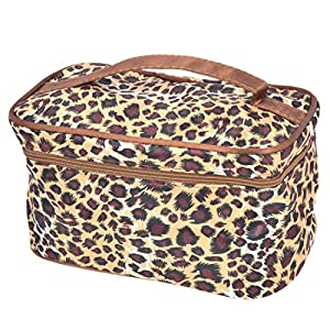 Lady Leopard Print zipper Closure Cosmetic Storage Bag Maroon Beige