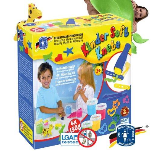 Feuchtmann 628-0543 Kinder Soft Knete Dough Factory mit 4 Dose á 150 g und viel Zubehör
