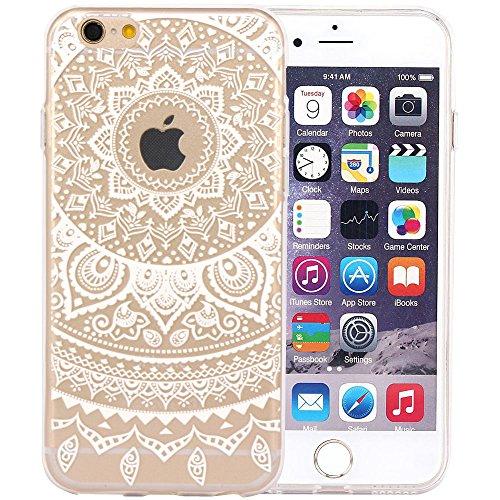 JIAXIUFEN Neue Modelle TPU Silikon Schutz Handy Hülle Case Tasche Etui Bumper für Apple iPhone 6 6S - White Circle Flower Tribal Mandala