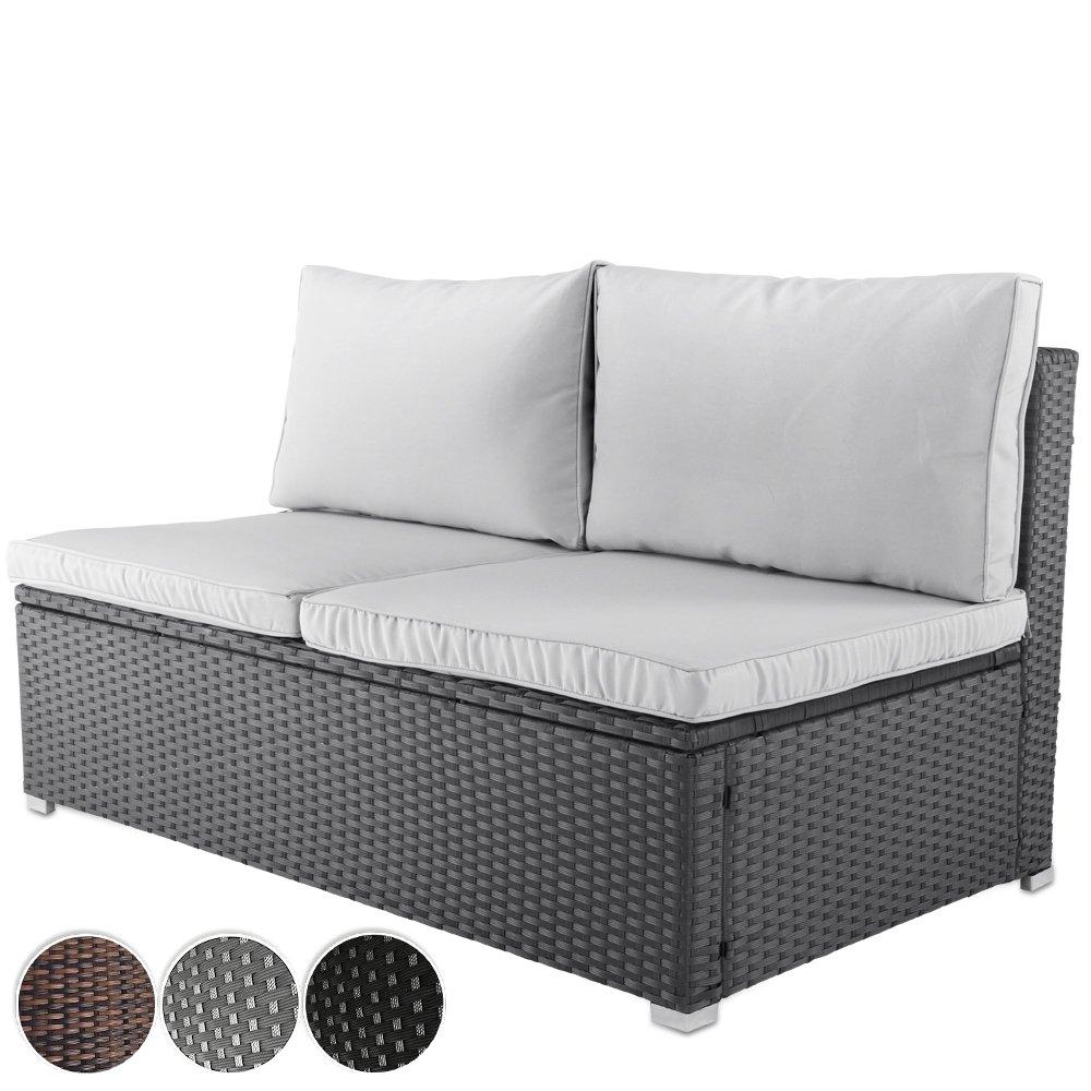 Bequemes Loungesofa aus Polyrattan für bis zu 2 Personen Zweisitzer Gartenmöbel inkl. Sitzkissen -Farbwahl- schwarz, grau oder braun günstig bestellen