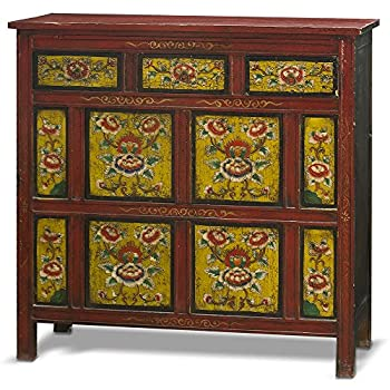 China Furniture Online Elmwood Cabinet, Hand Painted Floral Motif Tibetan Style High Chest Distressed Red and Yellow