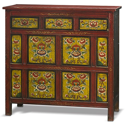 China Furniture Online Elmwood Cabinet, Hand Painted Floral Motif Tibetan Style High Chest Distressed Red and Yellow 0