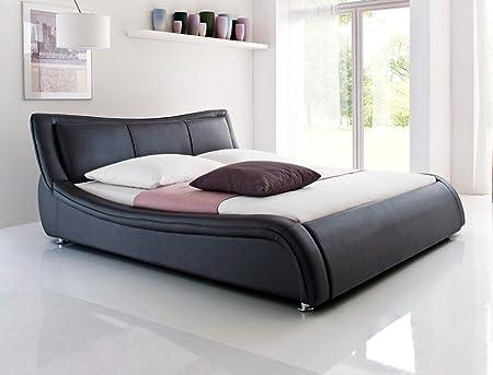 Polsterbett Bett Soraja schwarz Kunstleder Ehebett Bett Doppelbett Kunstleder Bettgestell, Liegefläche:160 x 200 cm