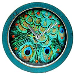 Grazing 5 Peacock Leather Pattern Vintage Imitation Wood Non Ticking Sweep Silent Round Desk Travel Alarm Clock (Peacock , Green)