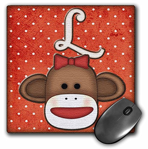 3dRose LLC 8 X 8 X 0.25 Inches Cute Sock Monkey Girl initial Letter L Mouse Pad (mp_102815_1)